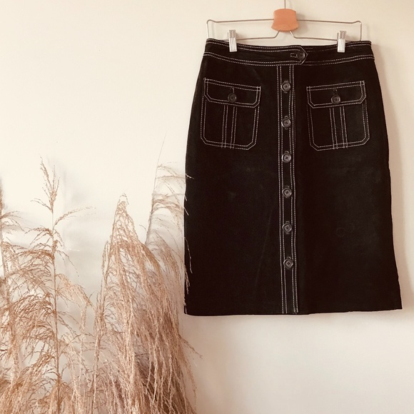 Vintage Chloe Esque Top Stitch Suede Skirt